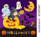 cartoon halloween card | Shutterstock .eps vector #85285387