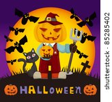 cartoon halloween card | Shutterstock .eps vector #85285402