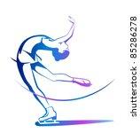 winter sport. ladies figure... | Shutterstock .eps vector #85286278