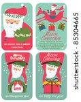 Set Of Christmas Card With Santa