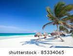 perfect caribbean beach in... | Shutterstock . vector #85334065