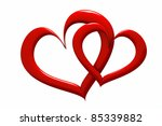 a two red hearts | Shutterstock . vector #85339882
