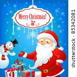 santa claus and snowman with... | Shutterstock .eps vector #85342081