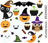 set of cute vector halloween... | Shutterstock .eps vector #85344082