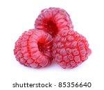 Ripe raspberry on a white background - stock photo