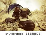 tourist boots in front of a... | Shutterstock . vector #85358578