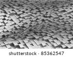 Wavy shiny metal cubic background - stock photo