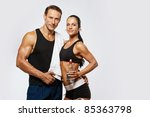 athletic man and woman after... | Shutterstock . vector #85363798