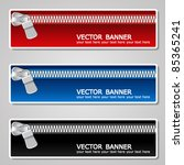 Vector color banners with zipper - stock vector