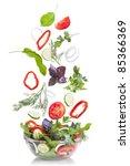 falling vegetables for salad... | Shutterstock . vector #85366369