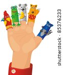 children wearing a hand with fingers on puppets - Tales characters - stock photo