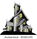 Halloween illustration of a haunted ghost house - stock photo