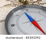 compass on the map   3d object... | Shutterstock . vector #85392592
