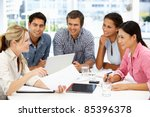 mixed group in business meeting | Shutterstock . vector #85396378