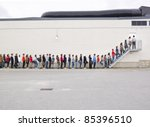 large group of people waiting... | Shutterstock . vector #85396510