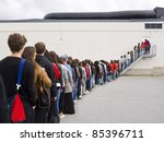 large group of people waiting... | Shutterstock . vector #85396711