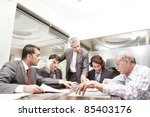 young businessman giving...   Shutterstock . vector #85403176