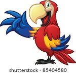 Cute Cartoon Macaw. Vector...