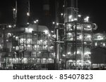 Night view of a petrochemical refinery. - stock photo