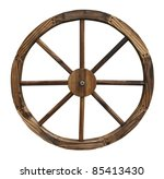 A Wooden Wagon Wheel Isolated...