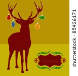 Christmas reindeer silhouette with decorations hanged from its antlers over mustard background. Ready for use as postage greeting card. - stock vector