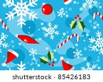 Christmas season illustration with snow, balls and candy over cyan background. - stock vector