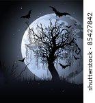creepy tree at night. ... | Shutterstock .eps vector #85427842