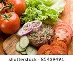 Hamburger With Slice Vegetable...