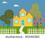 dream house illustration | Shutterstock .eps vector #85440382