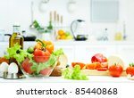 healthy foods are on the table... | Shutterstock . vector #85440868