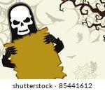 danger skull holding halloween... | Shutterstock .eps vector #85441612