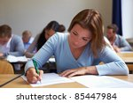 young woman taking test in job... | Shutterstock . vector #85447984