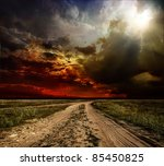country road leading to the... | Shutterstock . vector #85450825