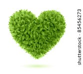 Heart Symbol In Green Leaves....