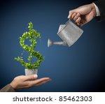 2 businessman and watering pot  ... | Shutterstock . vector #85462303