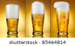 set glass of beer with froth... | Shutterstock . vector #85464814