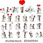 set of wedding pictures  bride... | Shutterstock .eps vector #85469044