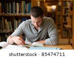 male student researching with a ... | Shutterstock . vector #85474711