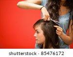 student hairdresser cutting...   Shutterstock . vector #85476172