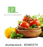 fresh vegetables on white... | Shutterstock . vector #85485274