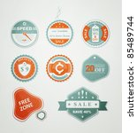 icons and labels for the sale... | Shutterstock .eps vector #85489744