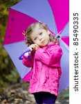 adorable toddler girl at rainy... | Shutterstock . vector #85490335