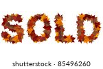 Sold word made with autumn leaves. Isolated on white background. - stock photo