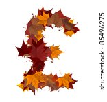 Lira currency symbol made with autumn leaves isolated on white background. - stock photo