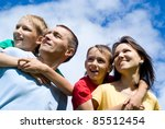 portrait of a cute family on a... | Shutterstock . vector #85512454