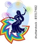 garba dancer rainbow fireworks | Shutterstock . vector #85517482