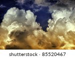 Exploding Storm HDR (High Dynamic Range) Photo. Beautiful Cloudscape - Storm Cell. Wether Photos Collection. - stock photo