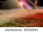 strange alien planet - stock photo