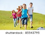 excited happy family running | Shutterstock . vector #85543795