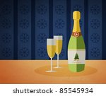 new year's champagne bottle and ... | Shutterstock .eps vector #85545934